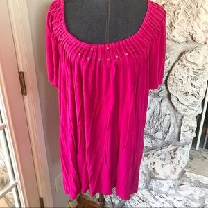 Pink style and co studded blouse 3X